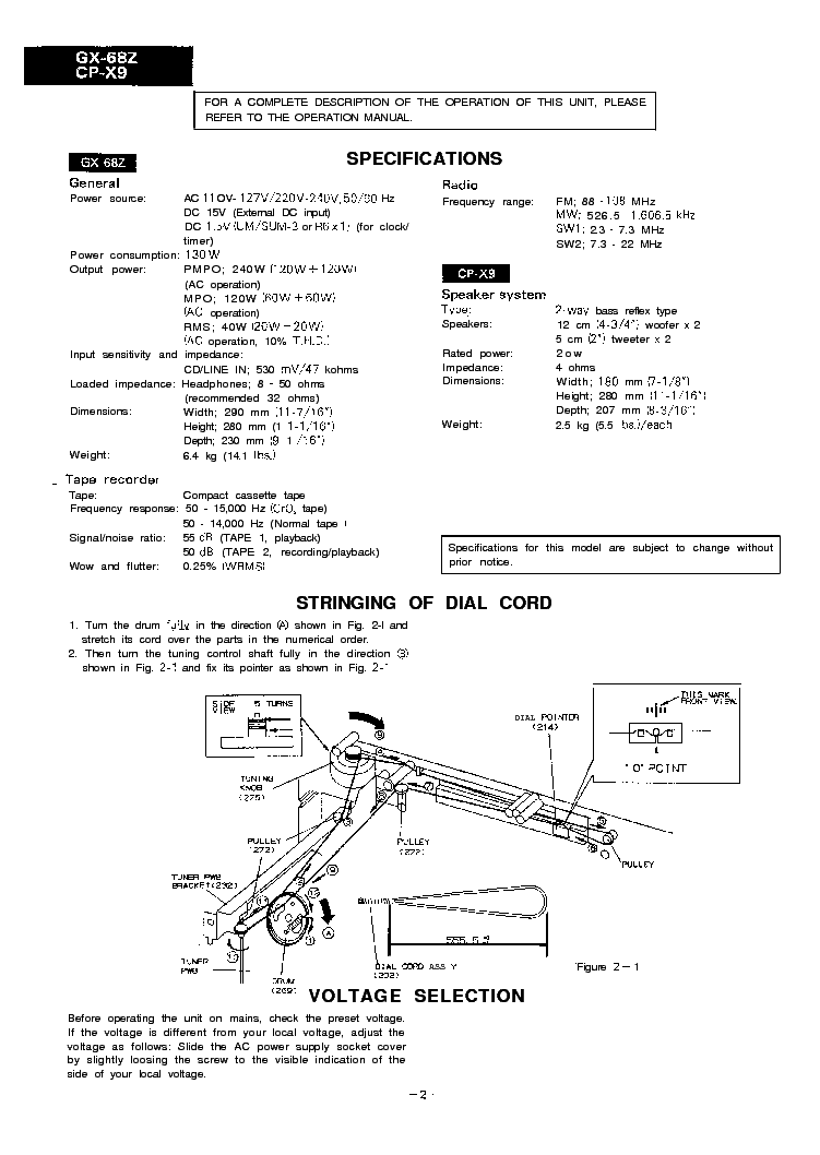 SHARP GX-68Z CP-X9 SM Service Manual download, schematics