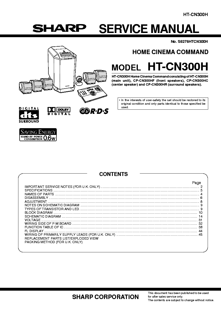 SHARP HT-CN300H Service Manual download, schematics