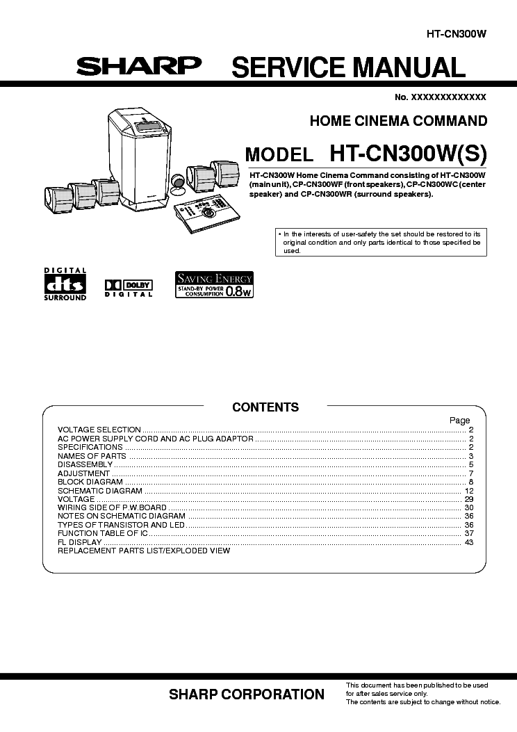SHARP CD-BA1300H Service Manual free download, schematics