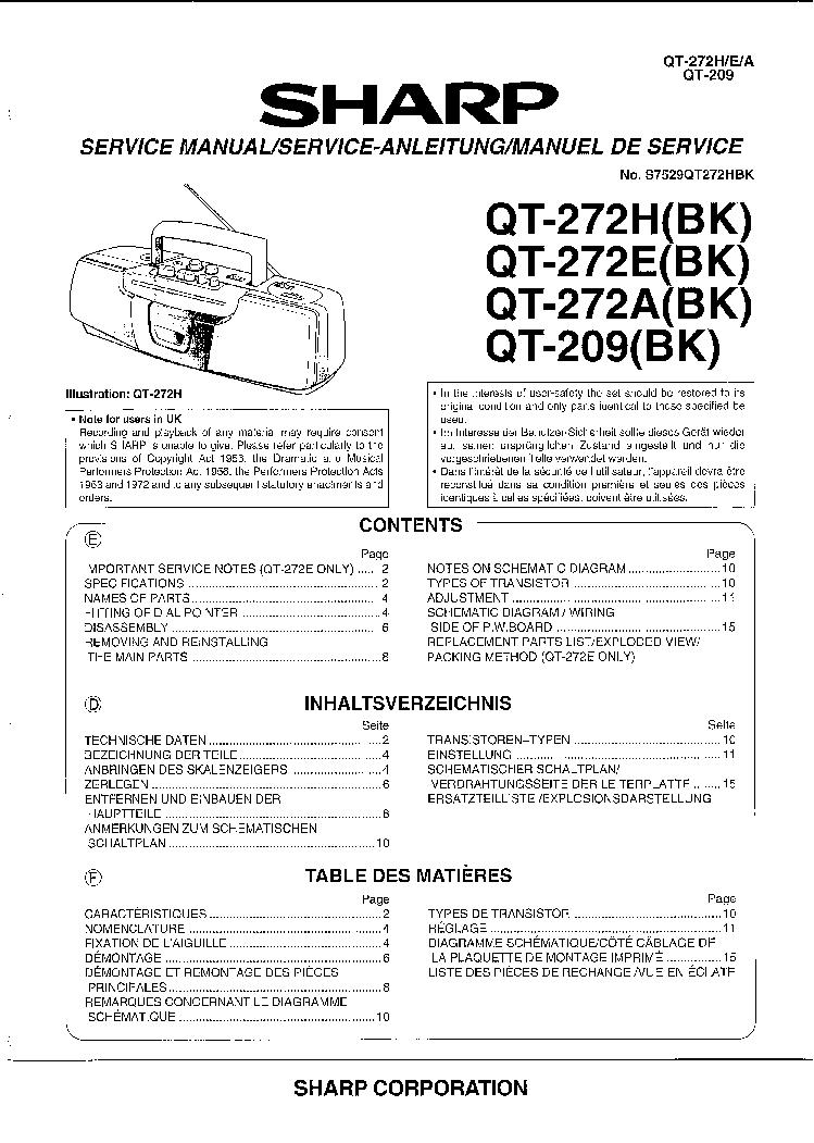 SHARP QT-272 QT-209 RADIO CASSETTE RECORDER Service Manual