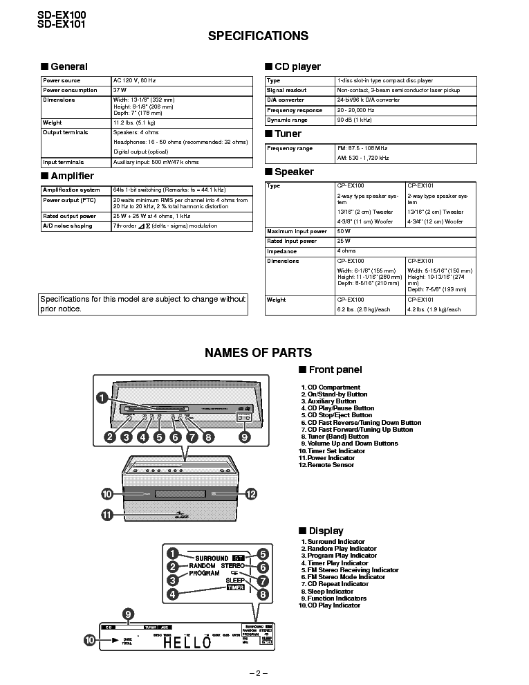SHARP SD-EX100 SD-EX101 Service Manual download