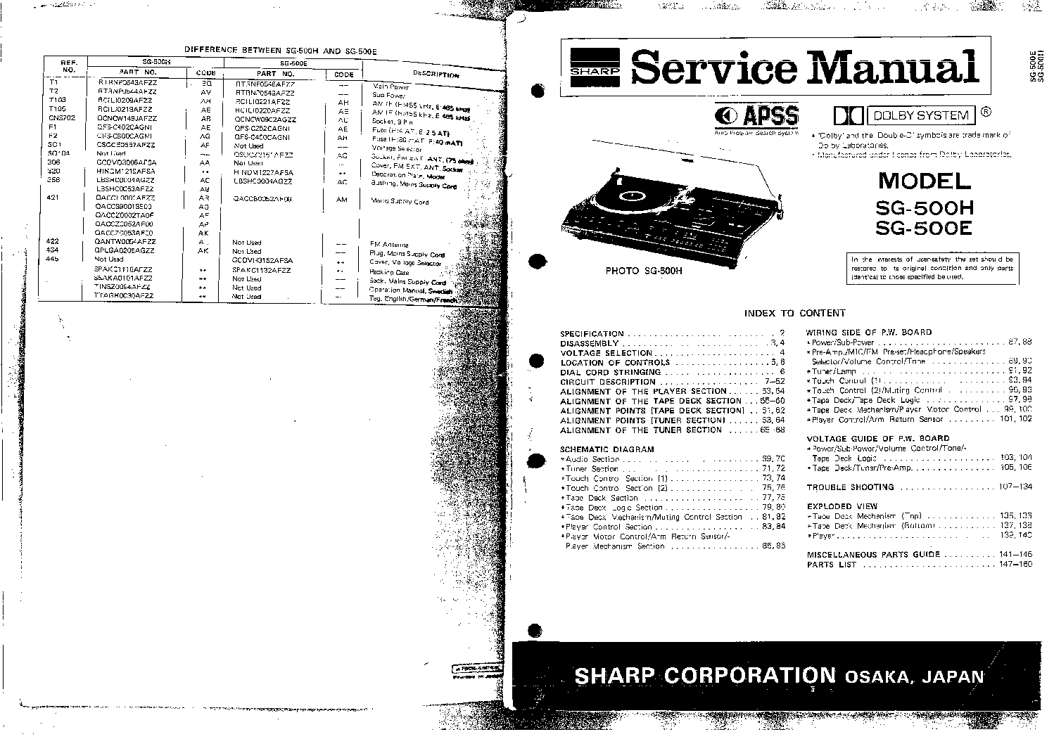 SHARP SG-500-E H- Service Manual download, schematics