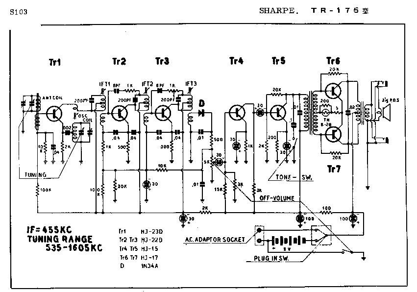 SHARP TR-175 SCH Service Manual download, schematics