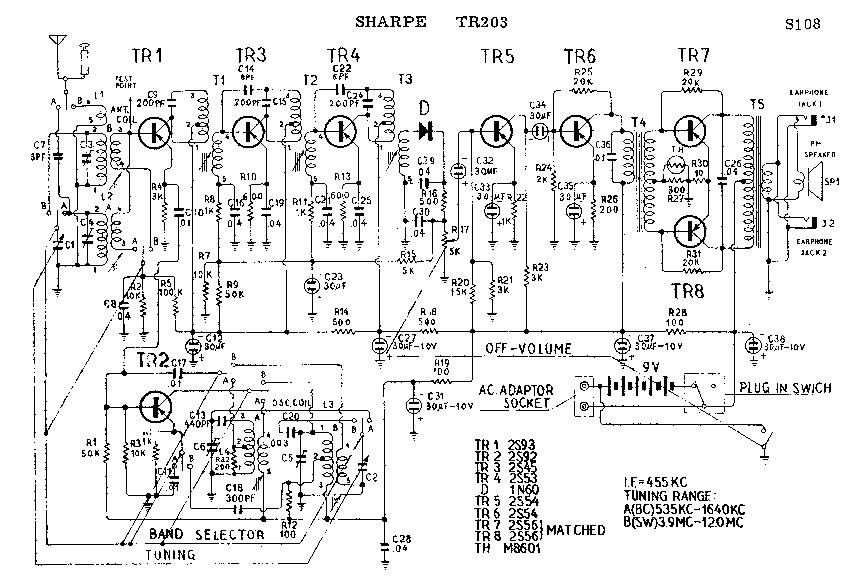 SHARP TR-203 SCH Service Manual download, schematics