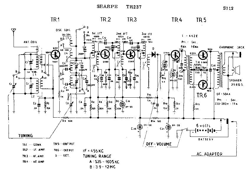SHARP TR-237 SCH Service Manual download, schematics