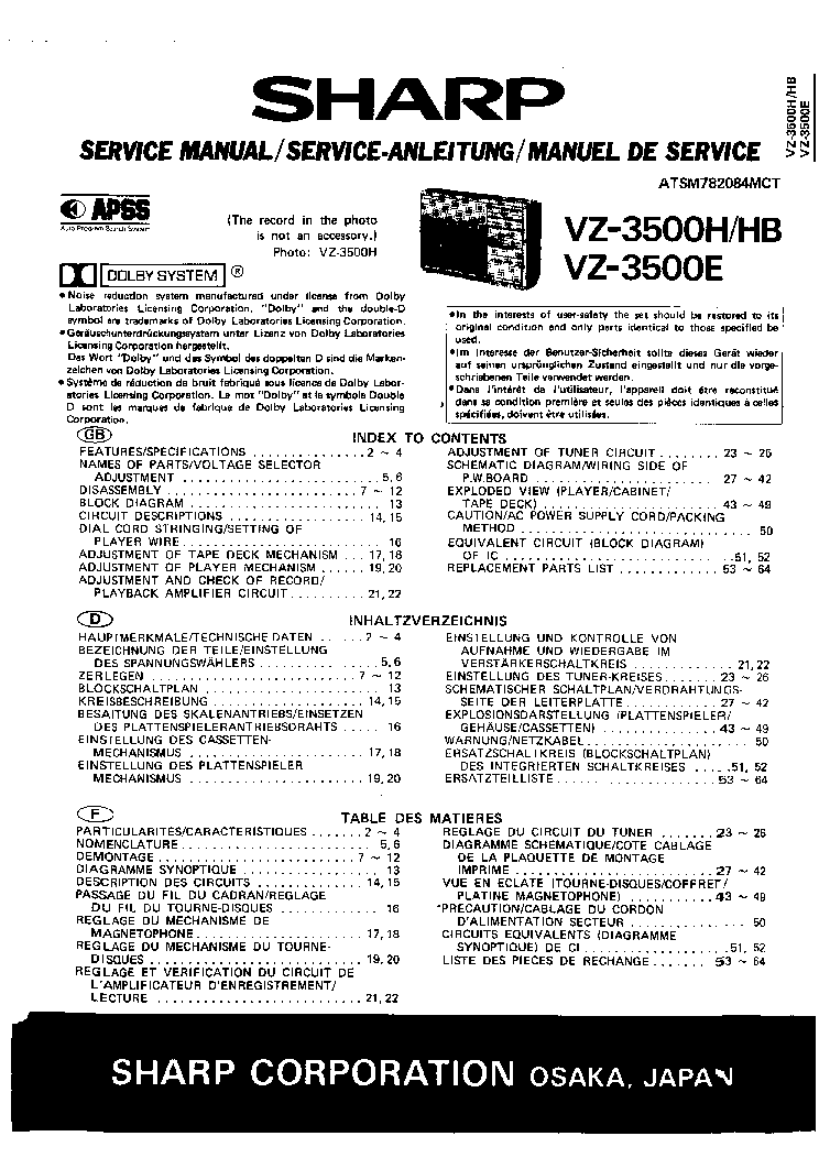 SHARP VZ-3500H VZ3500HB VZ3500E SM Service Manual download