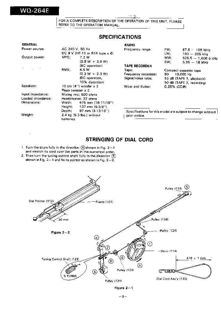 SHARP WQ-264E SM Service Manual download, schematics