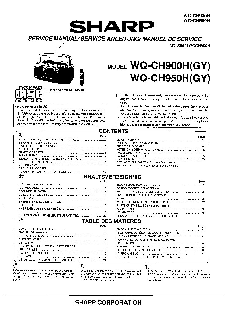 SHARP WQ-283 SCH Service Manual free download, schematics