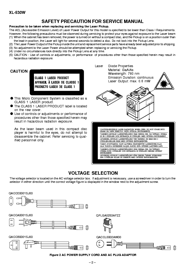 SHARP XL-530W MICRO COMPONENT SYSTEM Service Manual