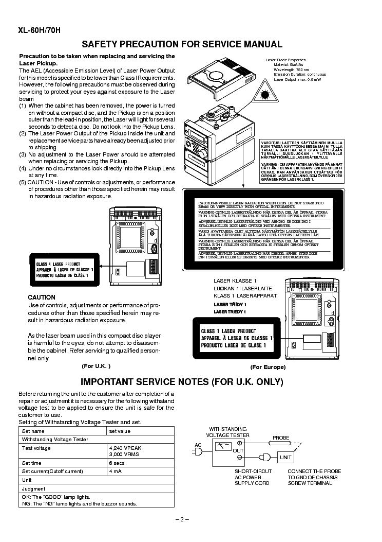 SHARP XL-60H 70H SM Service Manual download, schematics