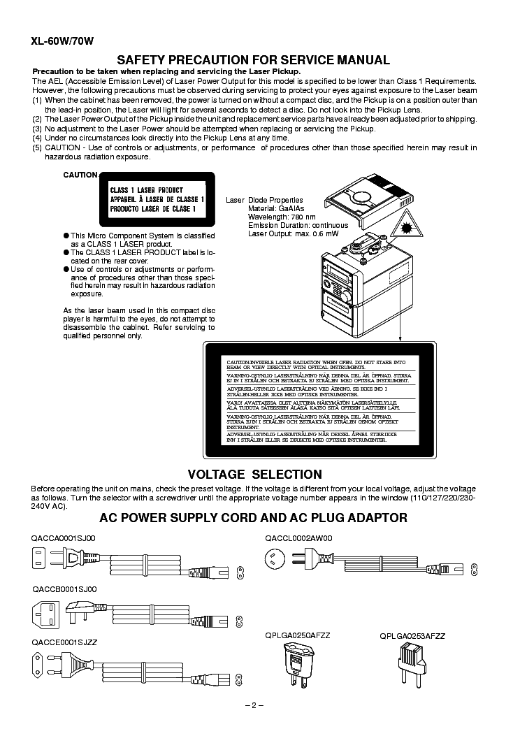 SHARP XL-60W XL-70W MICRO COMPONENT SYSTEM Service Manual