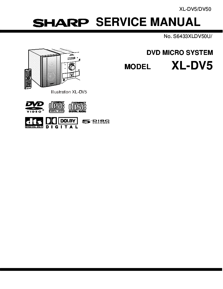 SHARP XL-DV5 XL-DV50 Service Manual download, schematics