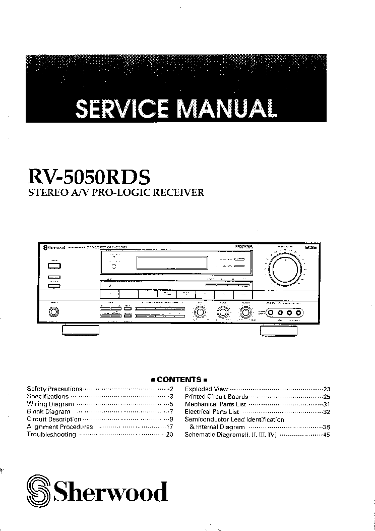SHERWOOD RV-5050RDS Service Manual download, schematics