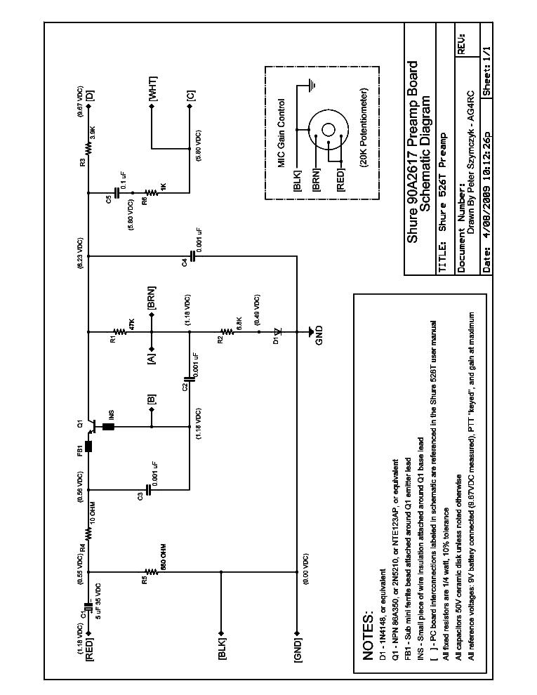 SHURE 526T SCH Service Manual download, schematics, eeprom