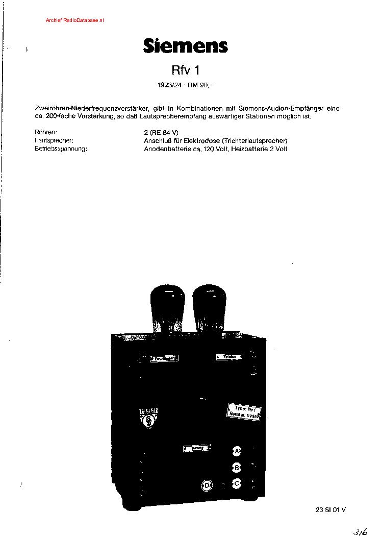 SIEMENS SCHATULLE H-42 SUPER RADIO SCH Service Manual free