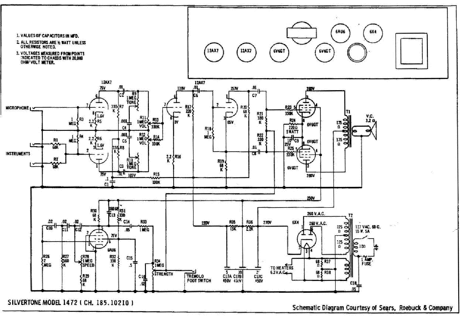 Silvertone Service Manual Download Schematics