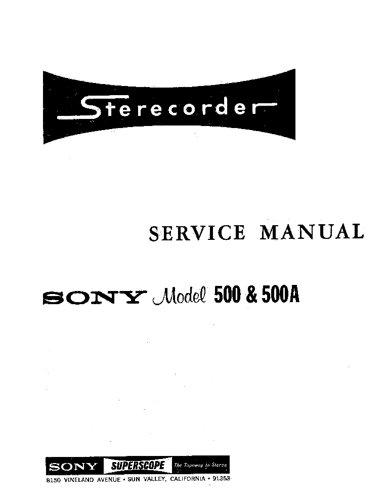 SONY 500 500A TAPE RECORDER PARTS Service Manual download