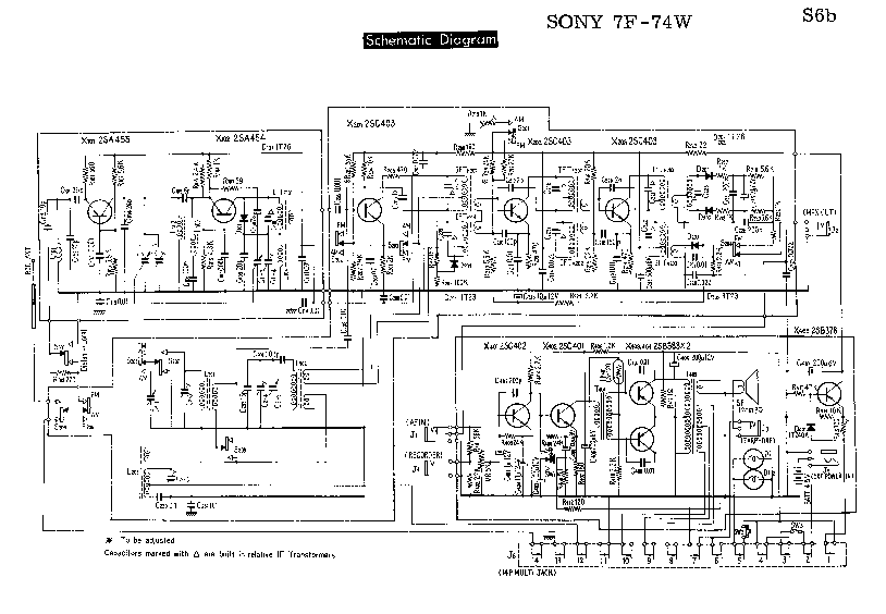SONY 7F-74W SM Service Manual download, schematics, eeprom