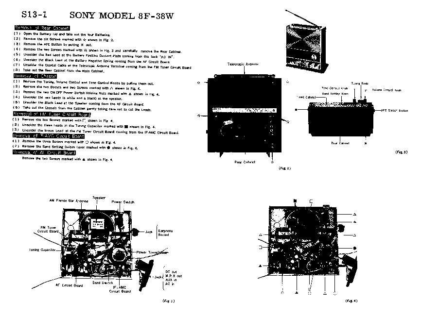 SONY 8F-38W SM Service Manual download, schematics, eeprom