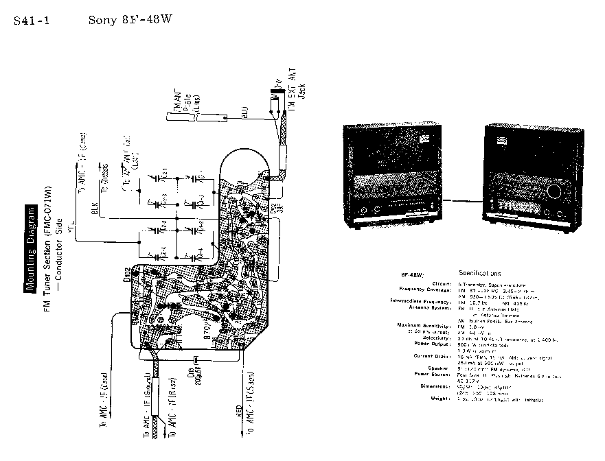 SONY 8F-48W SM Service Manual download, schematics, eeprom