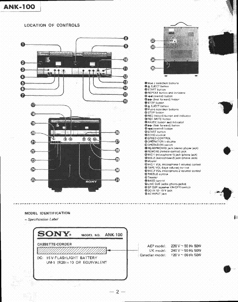 SONY ANK-100 CASSETTE-CORDER SM Service Manual download