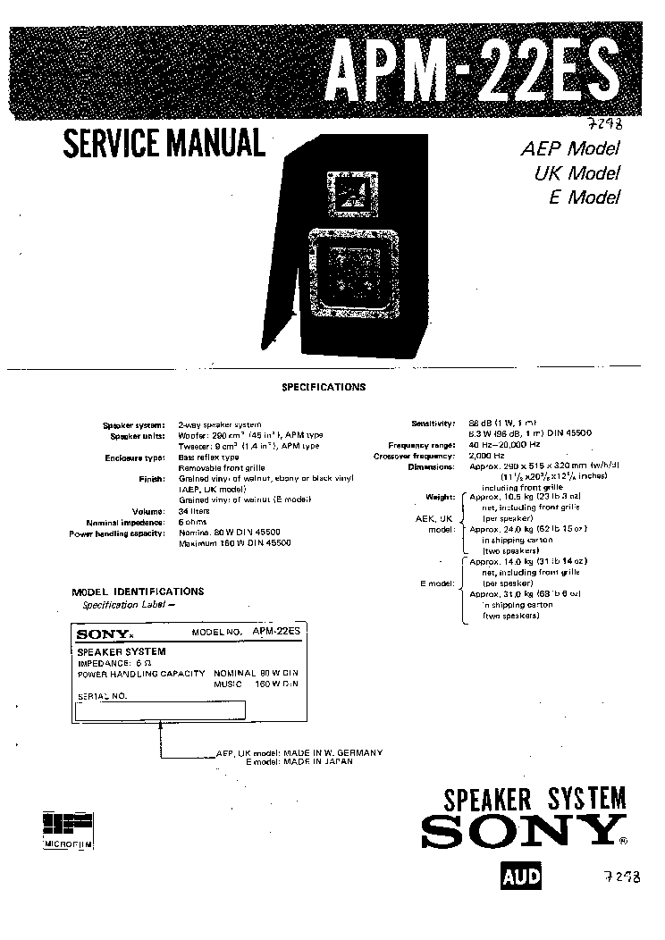 SONY APM-22ES SM Service Manual download, schematics