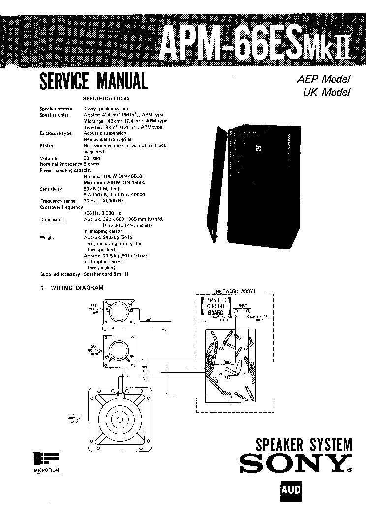 SONY APM-66ES-MK2 SM Service Manual download, schematics