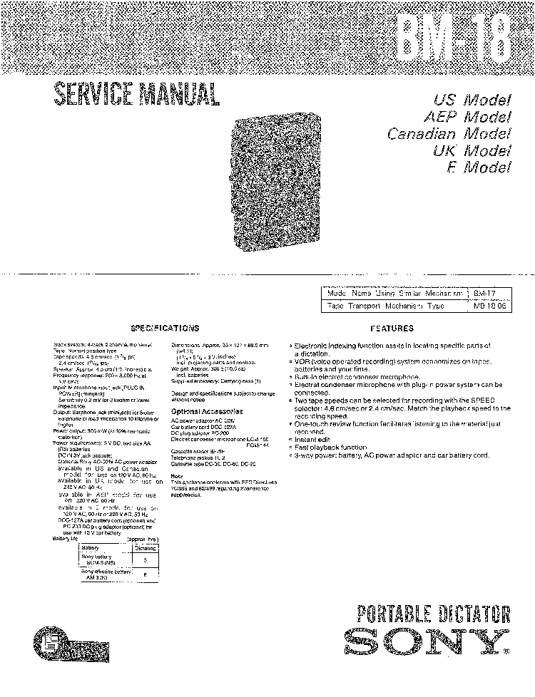 SONY TC-K4A SM Service Manual free download, schematics