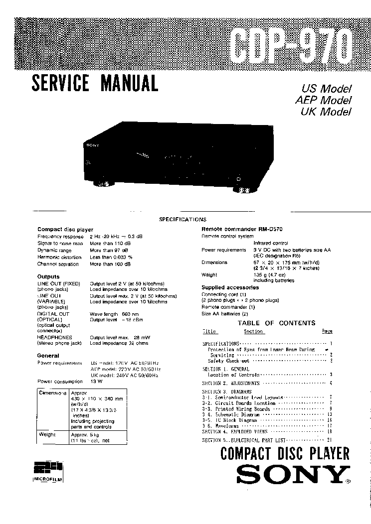 SONY CDP-970 SM Service Manual download, schematics