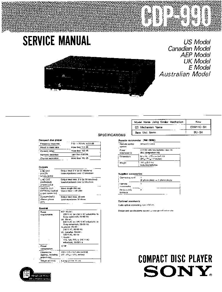 SONY CDP-990 SM 1 Service Manual download, schematics