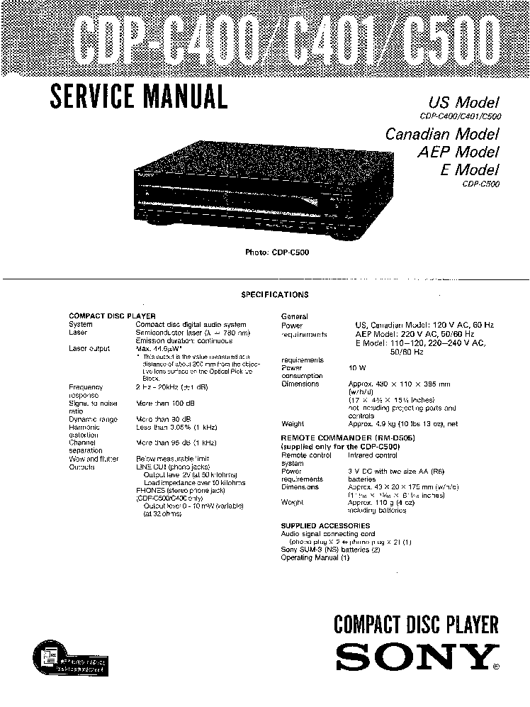 SONY CDP-C400 C401 C500 Service Manual download