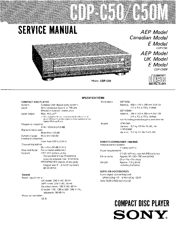 SONY CDP-C50 C50M Service Manual download, schematics