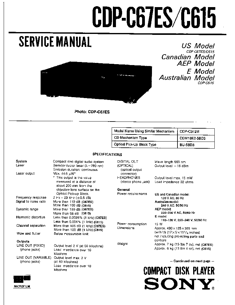 SONY CDP-C615 C67ES Service Manual download, schematics