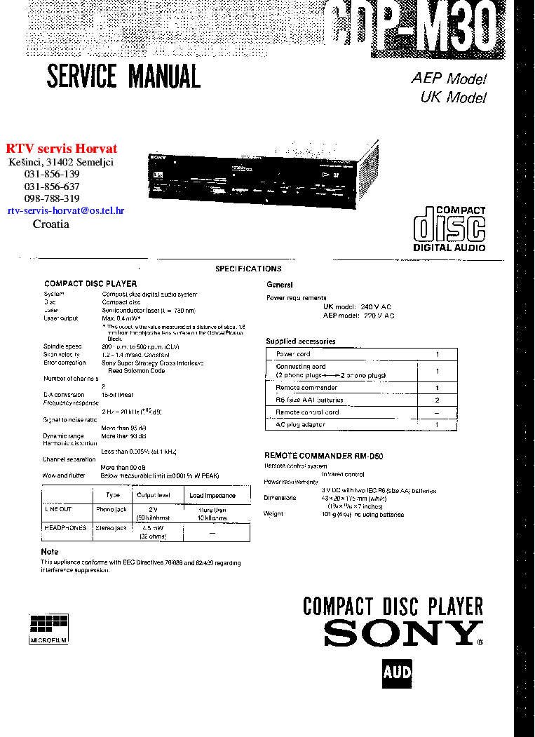 SONY CDP-M30 Service Manual download, schematics, eeprom
