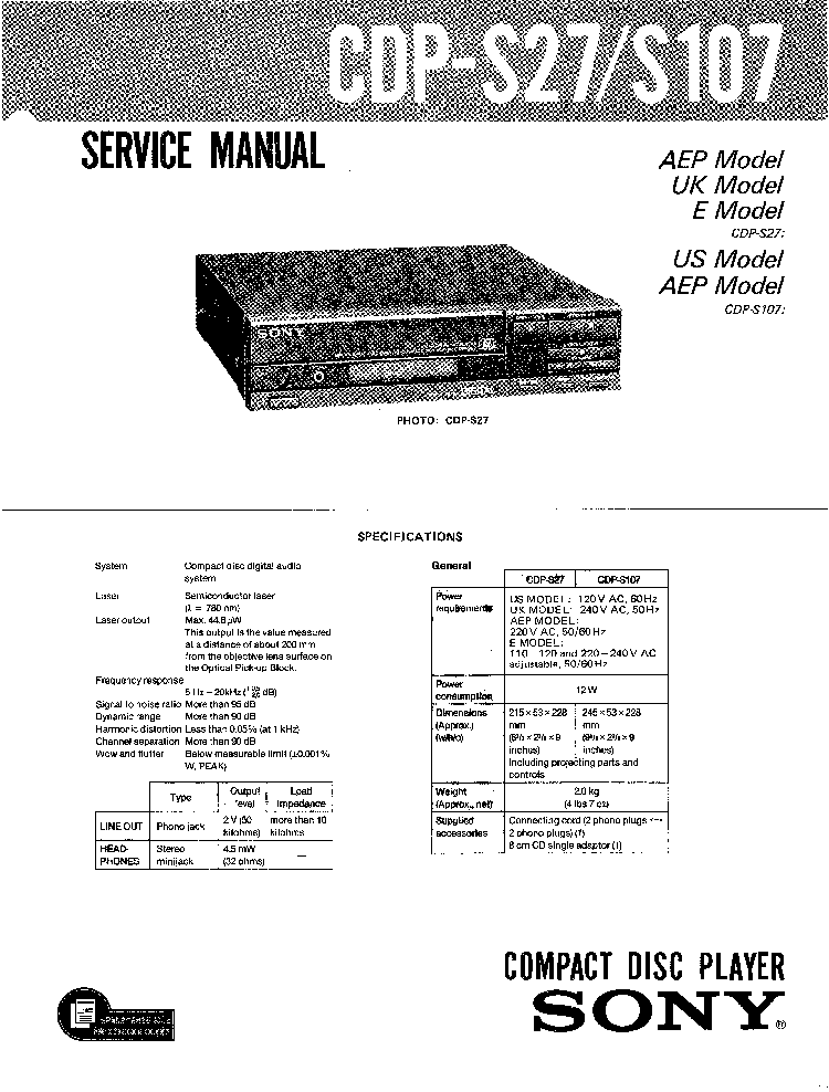 SONY CDP-S27 S107 Service Manual download, schematics