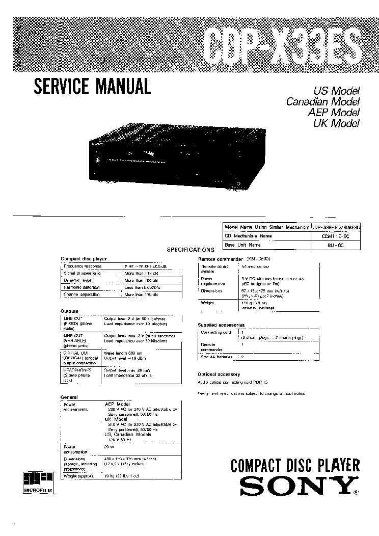 SONY CDP-X33ES SM 2 Service Manual download, schematics