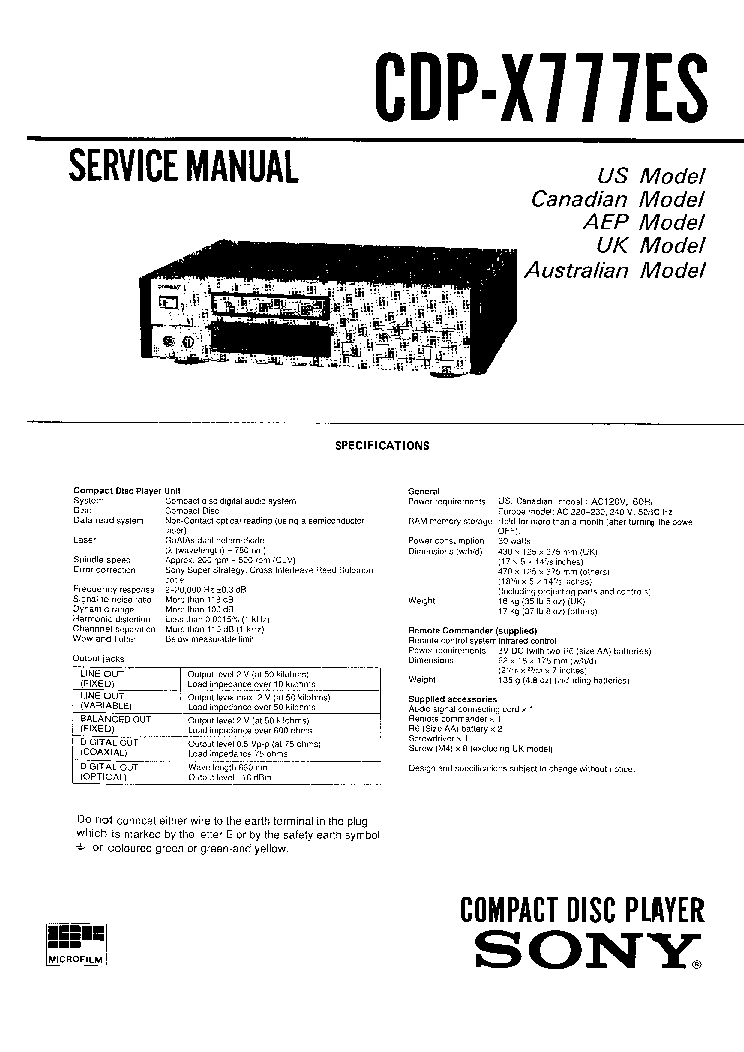 SONY CDP-X777ES SM 2 Service Manual download, schematics