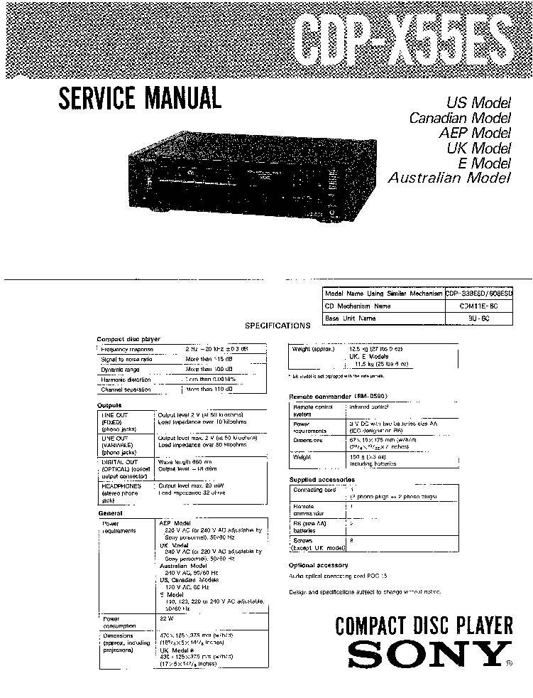SONY CDPX55ES SM Service Manual download, schematics