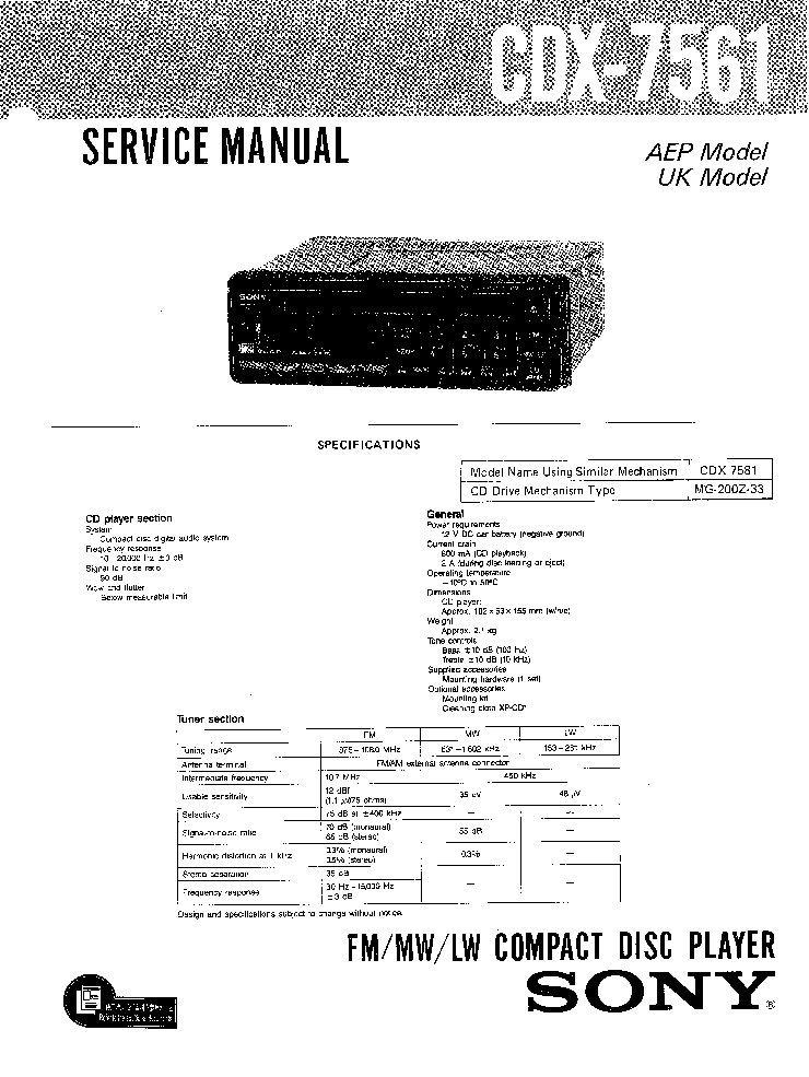 SONY SRA-3 Service Manual free download, schematics