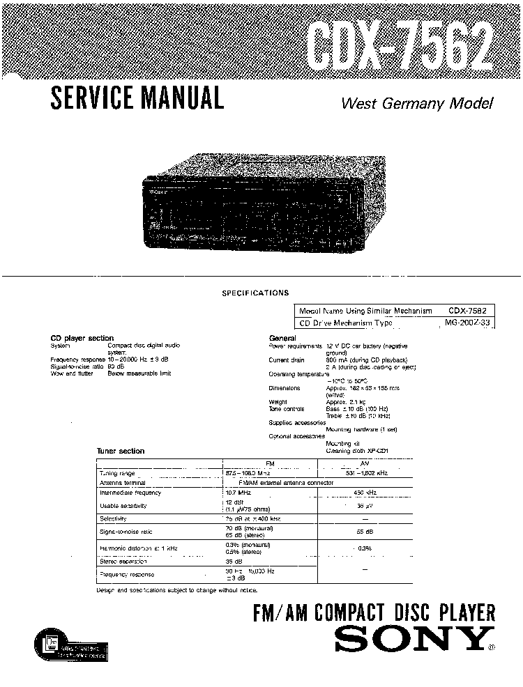 SONY CDX-7562 Service Manual download, schematics, eeprom