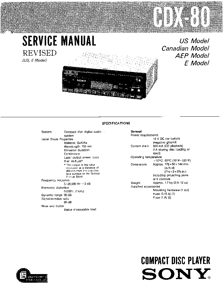 SONY CDX-80 Service Manual download, schematics, eeprom