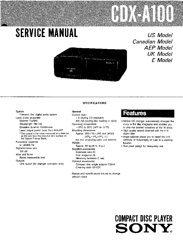 SONY CDX-A100 Service Manual download, schematics, eeprom