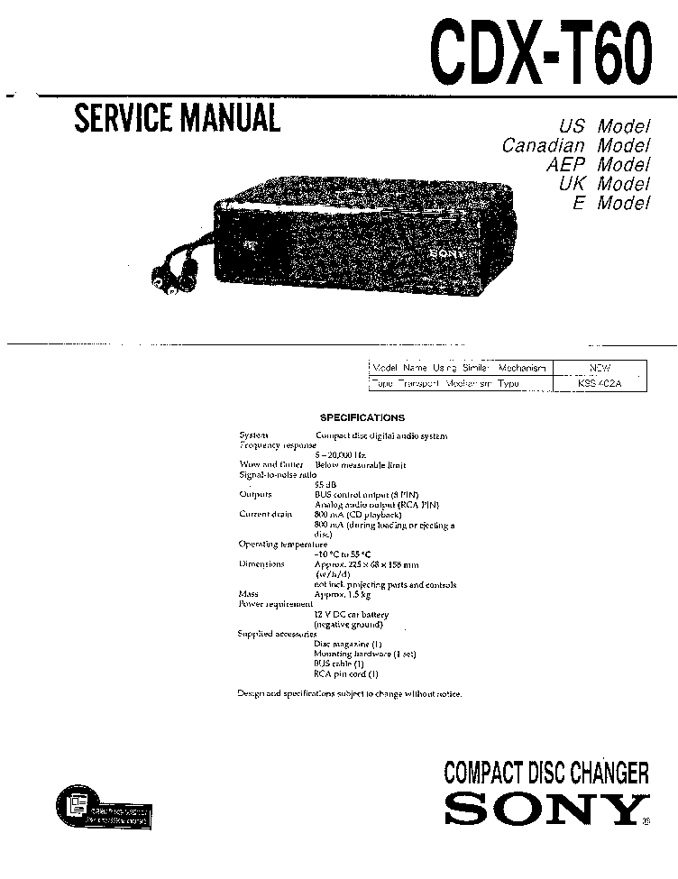 SONY CDX-T60 Service Manual download, schematics, eeprom