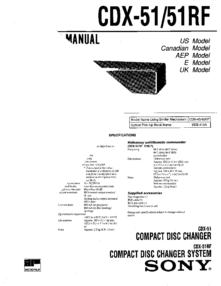 SONY CDX51 Service Manual download, schematics, eeprom