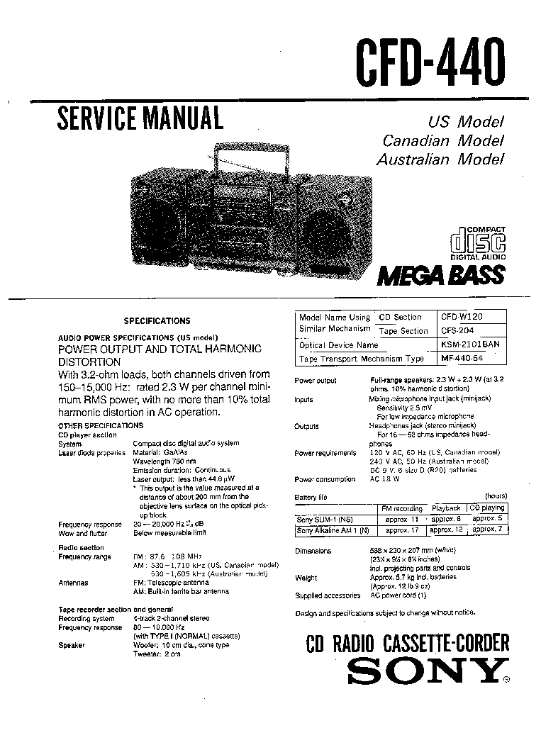 SONY CFD-440 SM Service Manual download, schematics