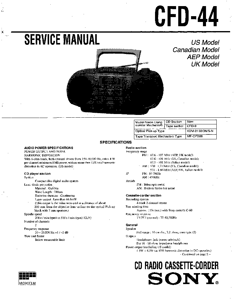 SONY CFD-44 SM Service Manual download, schematics, eeprom