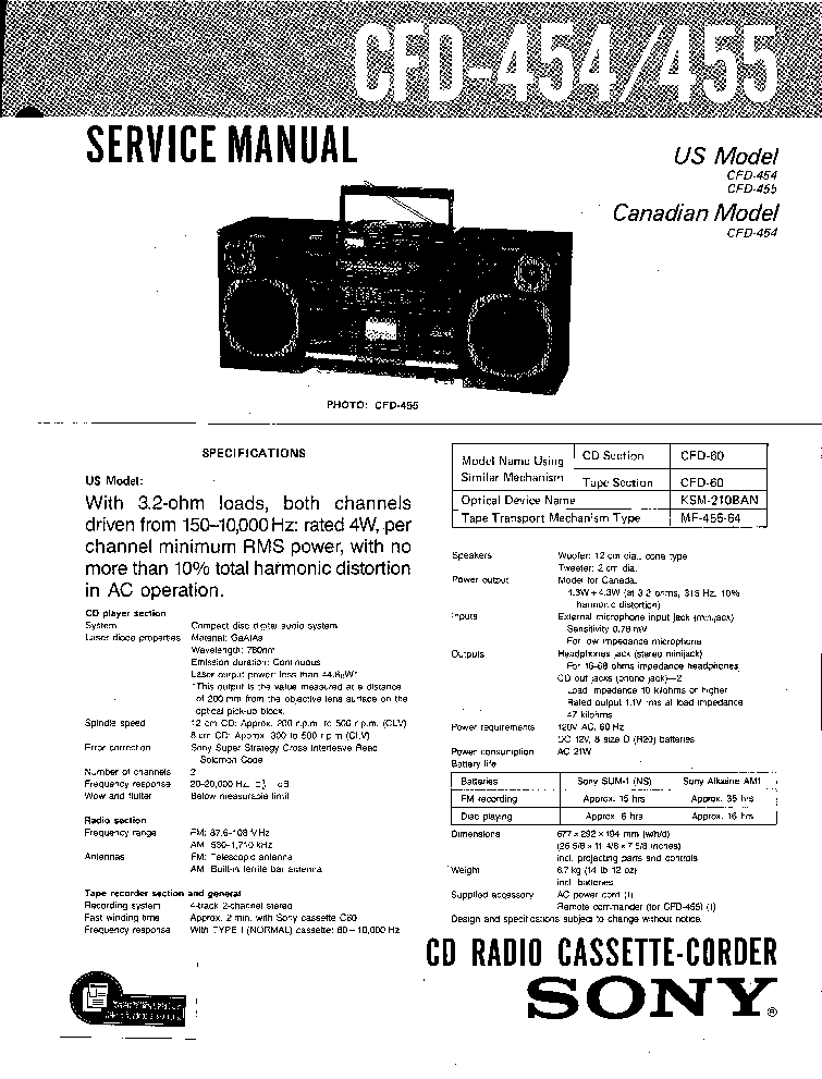 SONY CFD-454 455 SM Service Manual download, schematics