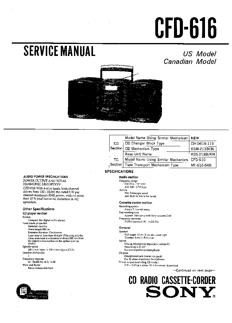 SONY CFD-616 SM Service Manual download, schematics