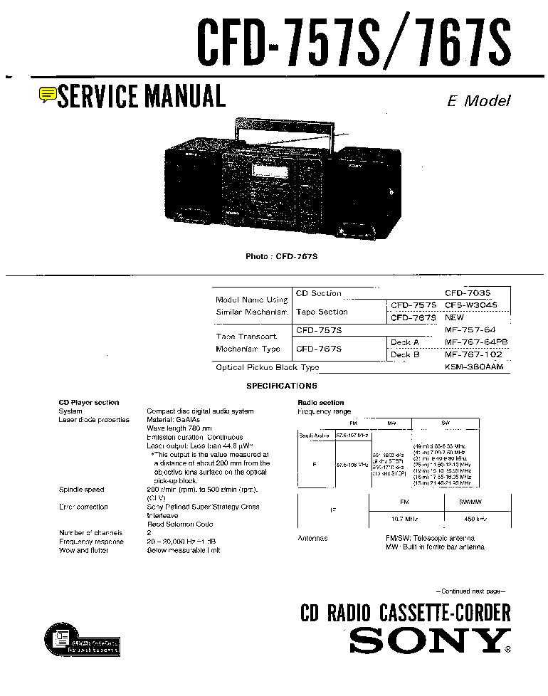 SONY CFD-757S 767S SM 2 Service Manual download