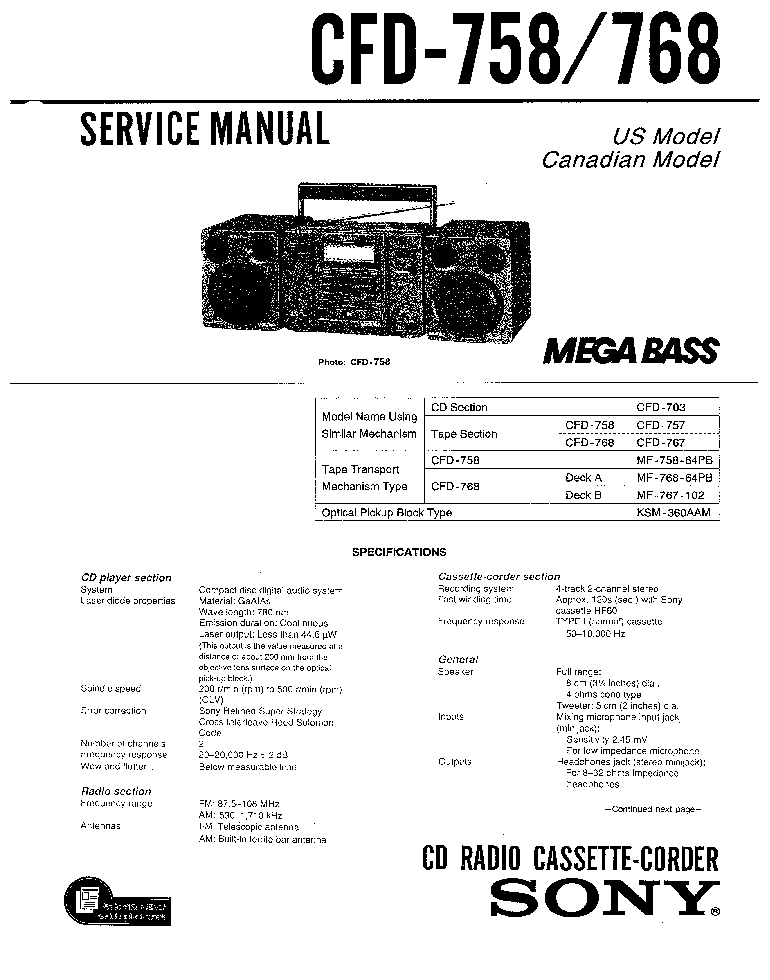 SONY CFD-758 768 SM 1 Service Manual download, schematics